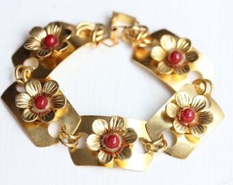 Red Flower Link Bracelet, Flower Bracelet, Red Flower Bracelet, Flower Link Bracelet, Gold Flower Bracelet, Link Bracelet, Gold Bracelet