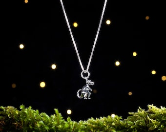 Sterling Silver Tiny T-Rex, Tyrannosaurus Rex Dinosaur - Small, 3D Double Sided - (Charm Only or Necklace)