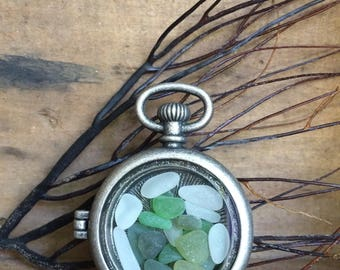 BEACH LOCKET...seaglass pocket watch locket glass,jewelry wedding bride necklace,filled with genuine sea glass pieces - jewelry supplies