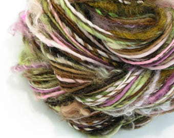 Art Yarn, Handspun Yarn, Knitting, Weaving Yarn, Crochet, Textured Yarn, Chunky Yarn, Bulky, Handspun Art Yarn, Green Pink Brown - GARDEN