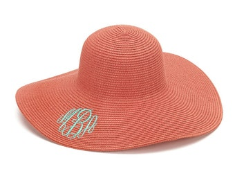 Coral Floppy Hat with Monogram for Women