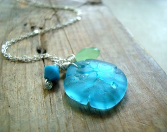 Aqua Sand Dollar Necklace With Crystals Sea Glass Jewelry Beach Glass Sterling Silver Charm Necklace Beachy Summer Gifts Under 30
