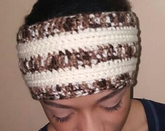 Crochet Headband in Brown and Beige