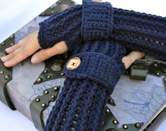 Navy blue fingerless gloves, arm warmers, texting gloves, crochet gloves, wrist warmers, hand warmers, mittens, warm gloves, winter gloves