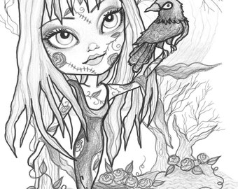 Adult Coloring Page Grayscale Coloring Page  Printable Coloring Page Digital Download - Halloween Fantasy Art - Goth Girl by Leslie Mehl Art