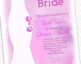Blushing Bride Wedding Dress Bridal Shower Invitations