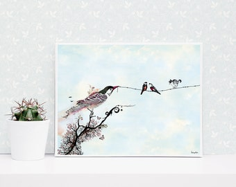 Bird on a Wire Print, Bird Animal Art, Animal Painting, Bird Print, Animal Wall Art, Animal Watercolor Painting, Animal Prints, Animal Lover