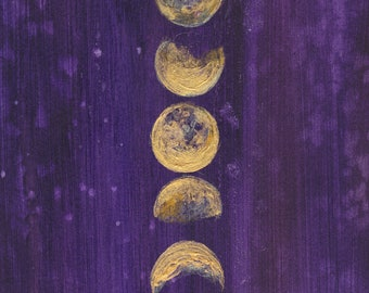 Moon Phases - Moon Art Print - Full Moon - Goddess - Boho - Bohemian Decor - 5x7 Giclee Print - Girls Room - Space - Night Sky - Stars
