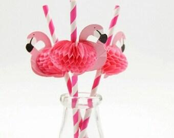 Flamingo Straws, Flamingo Drinking Straws, Paper Straws, Flamingos, Pkt of 10 Flamingo Straws