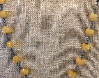 Yellow topaz heart necklace