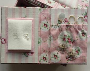 Sewing kit in floral pink stripe