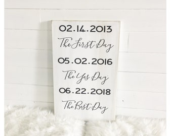 first day yes day best day personalized important dates 12x18