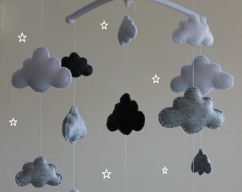 Musical cloud mobile grey baby cloud mobile grey white dark grey nurserymobile