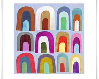 Mini Arches, Abstract Art Print, Modern Home Decor, Geometric Illustration for Kid's Room or Nursery, Framing Available