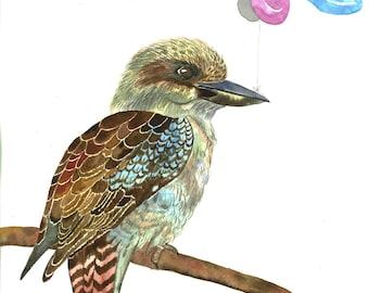 kookaburra with Kangaroo balloon Giclée print, Australiana watercolour wall art