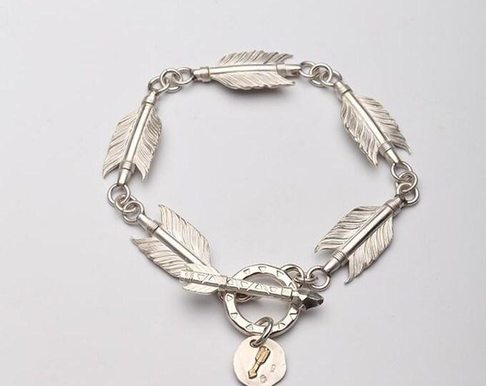 Arrow Feather Bracelet   Sterling Silver Bracelet   Tribal Bracelet   Arrow Jewelry   18K Gold Arrow Bracelet   Arrow Charm   Feather Charm