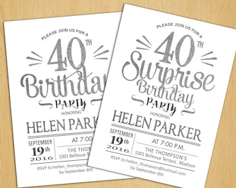 Surprise 40th Birthday Invitation / Any Age / Silver White / Printable Silver Foil Effect / Digital  Invite