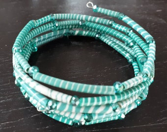 African recycled rubber bracelet, hand made ethnic bracelet made in Ghana, green