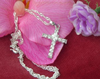 Beautiful CROSS pendant w. chain and clear crystal: heart & marquise shape- 2 choices