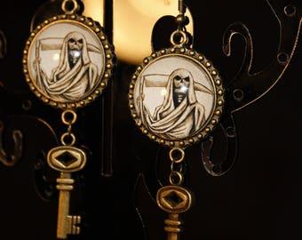 Gothic earrings grim reaper with keys