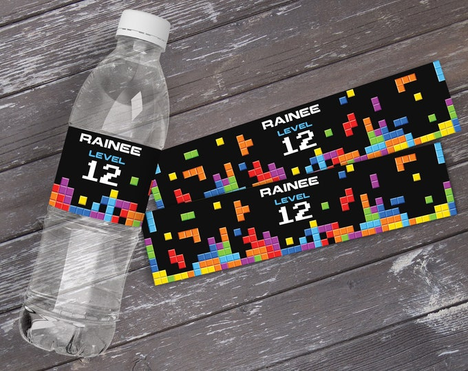 Retro Video Game Party Water Bottle Labels or Wrappers - Retro Video Game Birthday - Tetris Inspired - INSTANT Download Printable PDFs