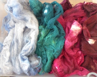 Hope Jacare - Just gorgeous approx 25g hand dyed silk hankies SH69