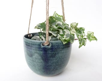 Hanging Planter - Hanging Vase for small and medium plants - Blue Green Handmade Ceramic hanging pot - pottery