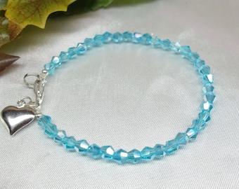 Aquamarine Bracelet Aquamarine Crystal Bracelet Silver Heart Bracelet Light Blue Bracelet Sterling Silver Bracelet BuyAny3+1Free