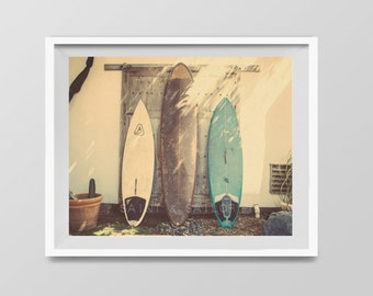 Surf Art, Vintage Surfboards, Surf Decor,  beach photos, , yellow, turquoise, sunset, retro, vintage surf home decor, boys room