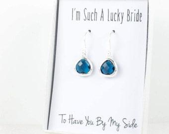 Tiny Navy Silver Earrings, Navy Blue Earrings, Navy Blue Silver Earrings, Bridesmaid Earrings, Navy Wedding Jewelry, Blue Wedding Accessory