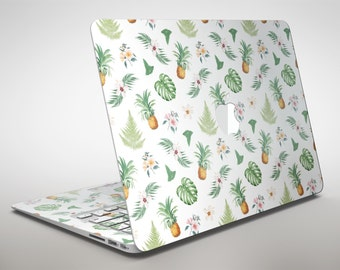 The Tropical Pineapple and Floral Pattern - Apple MacBook Air or Pro Skin Decal Kit (All Versions Available)