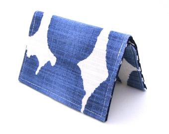 Mini Wallet / Card Holder / Business Card Holder / Card Case / Gift Card Holder/ Small Wallet - Indigo Blue Watercolor