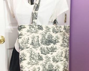 Black and Cream Toile Small Tote Free Shipping in the US