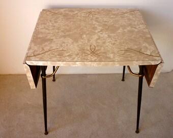Vintage Retro Formica Table Mid Century Kitchen Kitsch 1950s 60s Desk Worktop Original DropLeaf