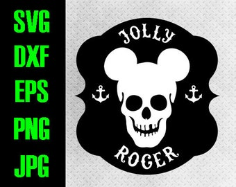 Disney Cruise - svg, dxf, eps, png, jpg cutting files - cricut, silhouette - iron on - Mickey Pirate Jolly Roger anchor Fish extender