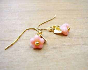 Minimalist Earrings, Flower Earrings, Pink Flower Earrings, Bell Flower Earrings, Dainty Earrings, Bridesmaid Earrings, Gold Bridal Earrings
