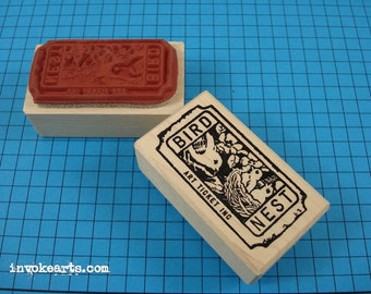 Bird Nest Ticket Stamp / Invoke Arts Collage Rubber Stamps