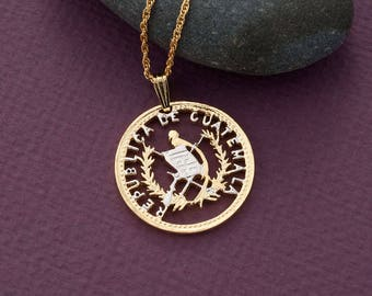 "Guatemala Coin Pendant and Necklace, Guatemala 25 Centavos Coin Hand Cut, 14 Karat Gold and Rhodium Plated, 1 1/8"" in Diameter, ( # 864 )"