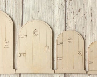 Gorgeous laser cut wood fairy faerie elf doors in packs of ten now available in four sizes