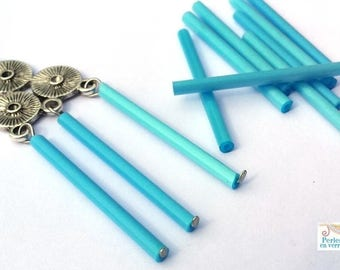Blue: 20 31x2mm (pv591) glass tube beads