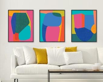Colorful Art, Abstract Art, Print Set of 3, Contemporary Art, Large Wall Art, Large Abstract Art