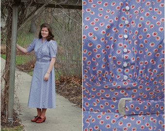 Handmade 1930s Periwinkle Dress / Art Deco / Depression Era / Size L-XL