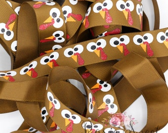 """7/8"""" Gobble Turkey Glitter Grosgrain Ribbon"""