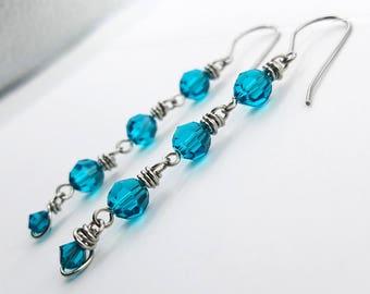 Deep Blue Wire-Wrapped Earrings