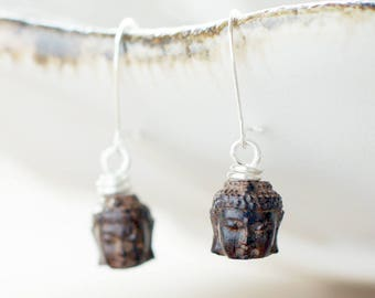 Sterling silver Buddha earrings | Wooden earrings | Carved Buddha head jewelry | Spiritual earrings | Boho yoga earrings | New Age earrings