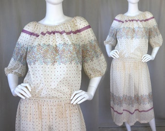 Semi-Sheer Boho 70s Festival Two-Piece Outfit Set / Tunic / Top / Skirt / Cream & Lavender / Floral and Dots / Floaty Lightweight | Medium