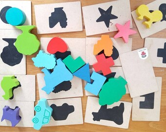 Wooden Figure Matching Game, 32 Pieces, Wooden Shape Matching Game, Animals and Shapes, Learning Game