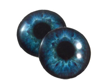 16mm Deep Blue Color Eyes Glass Eye Pair of 2 16mm - Fantasy Taxidermy Eyes for Jewelry Making or Art Doll Irises