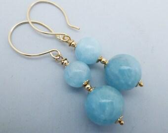 SALE WAS 32.99 Aquamarine Double Drop Gemstone Goldfilled Earrings EE Designs