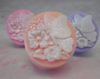 Floral Soap - Butterfly Soap - Spring Soap Favors - Vegan Soap - Soap Gift For Her - Decorative Soap - Wedding Favors - Floral Soap Gift